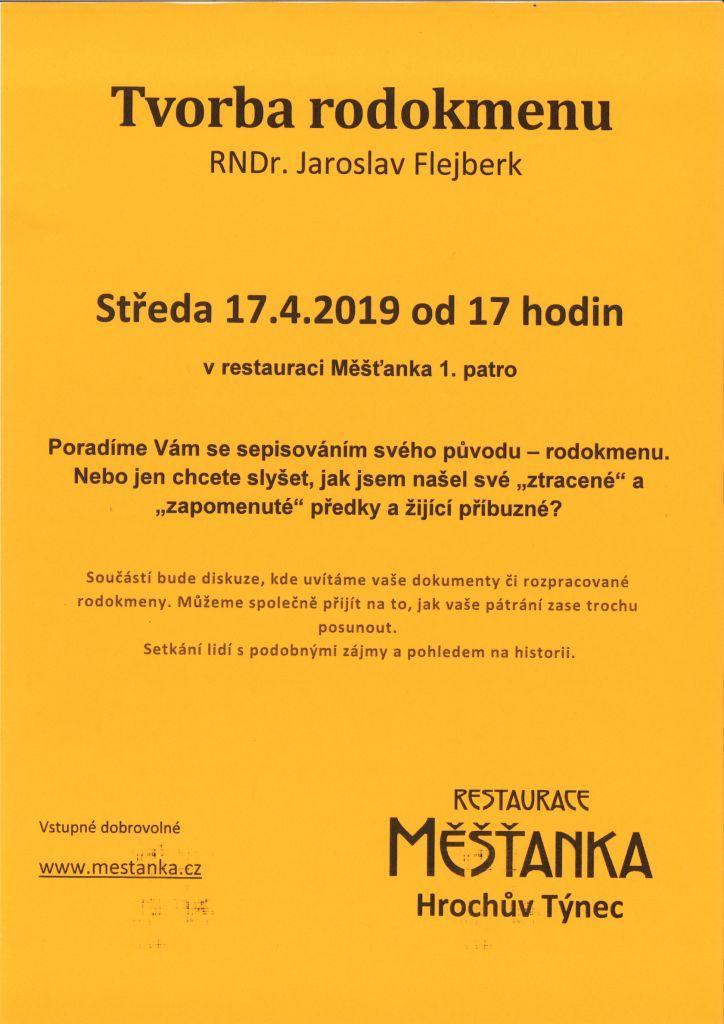 Tvorba rodokmenu - přednáška RNDr. Jaroslav Flejberk  1