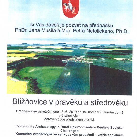 Město Hrochův Týnec si Vás dovoluje pozvat na přednášku PhDr. Jana Musila a Mgr. Petra Netolického, Ph.D Blížňovice v pravěku  1